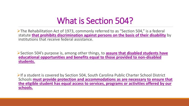 What is Section 504?