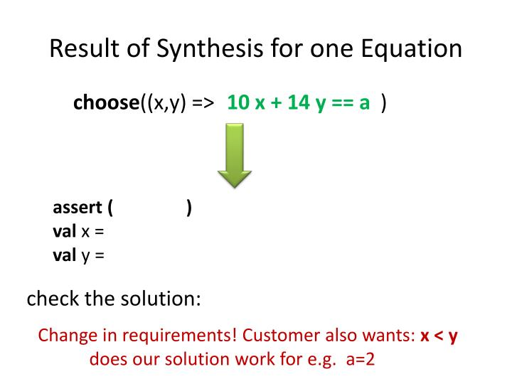Result of Synthesis for one Equation