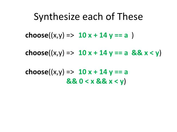 Synthesize each of these