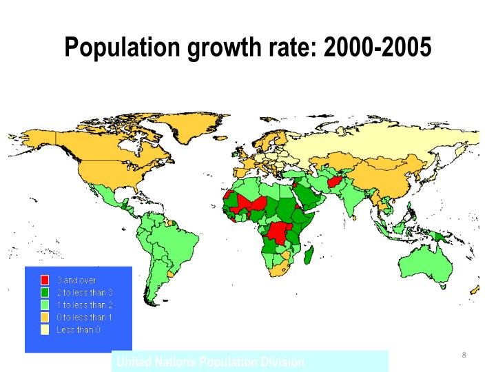 Population growth rate: 2000-2005