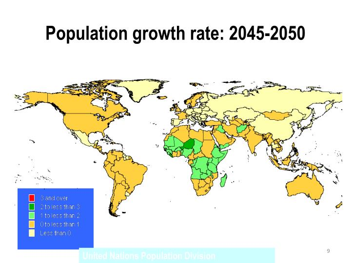 Population growth rate: 2045-2050