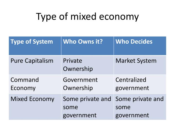Type of mixed economy