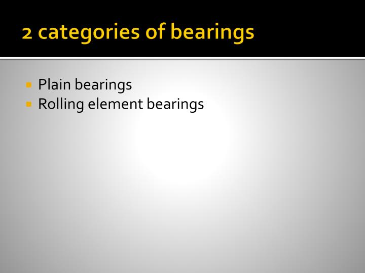 2 categories of bearings