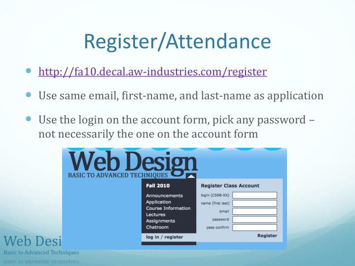 Register/Attendance