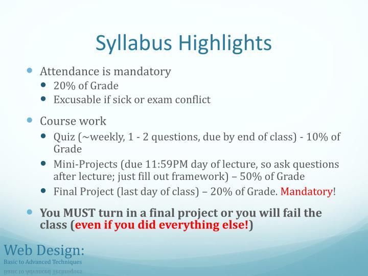 Syllabus Highlights