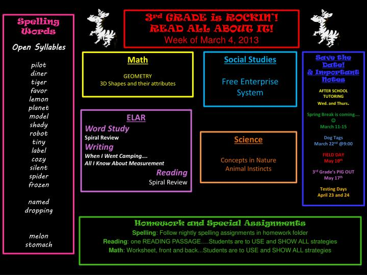 Homework and special assignments spelling follow nightly spelling assignments in homework folder