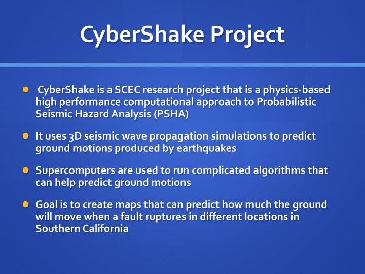 Cybershake project