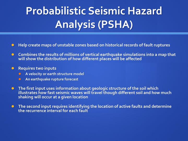Probabilistic seismic hazard analysis psha