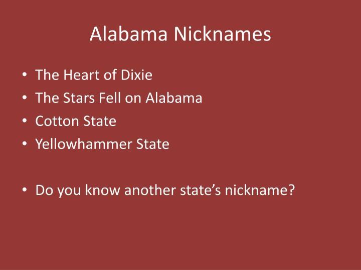 Alabama Nicknames