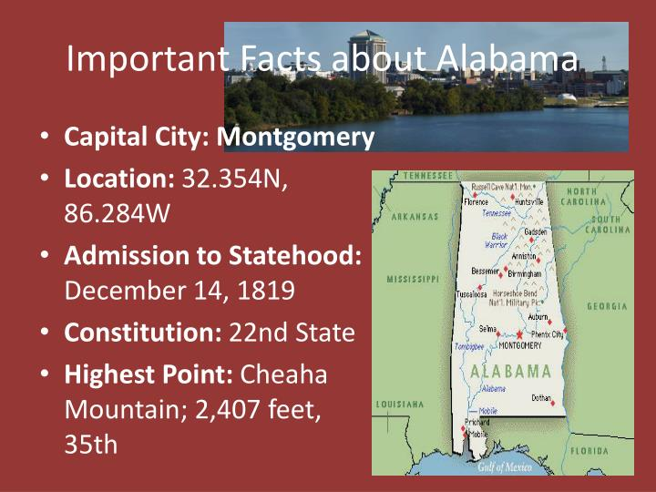 Important Facts about Alabama
