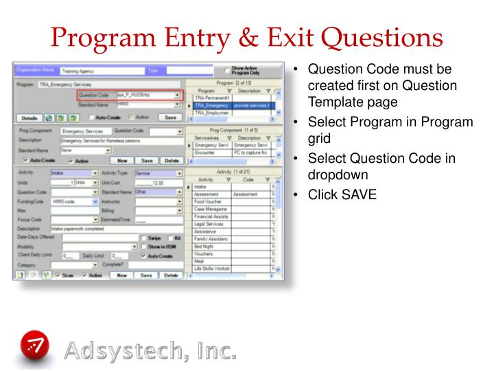Program Entry & Exit Questions