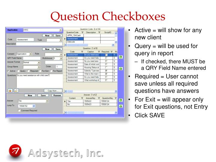 Question Checkboxes