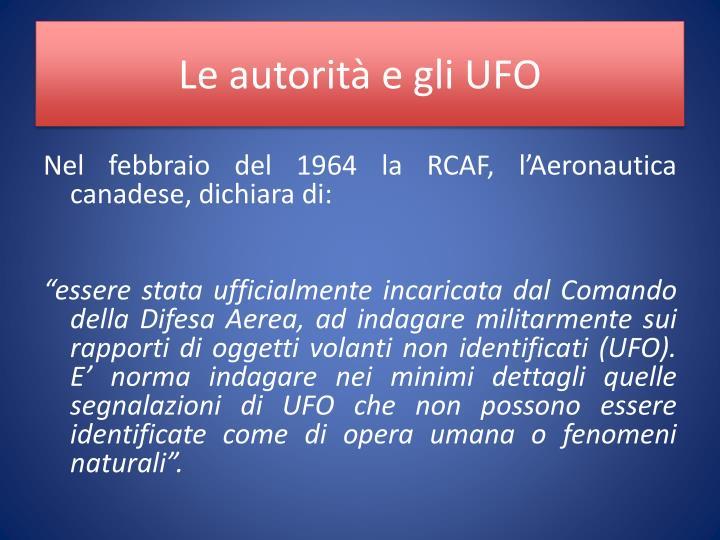 Le autorità e gli UFO