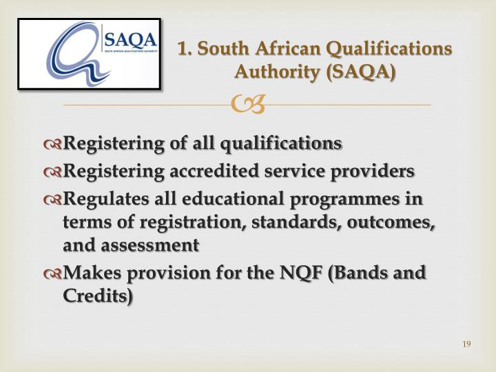1. South African Qualifications Authority (SAQA)