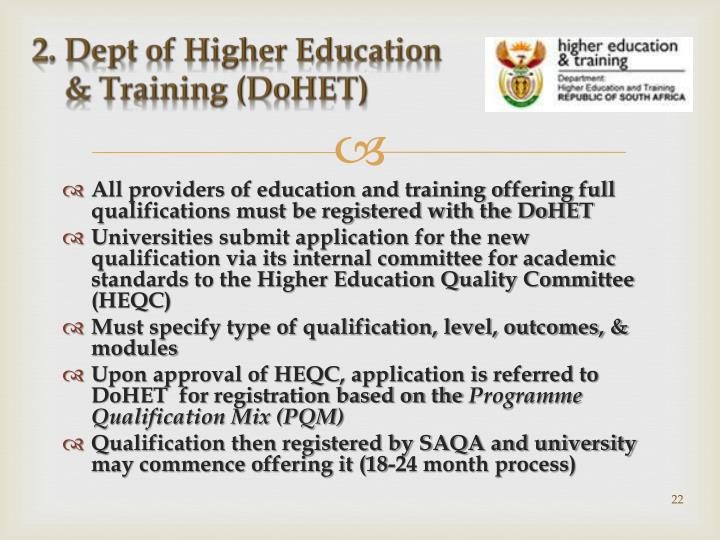 2. Dept of Higher Education