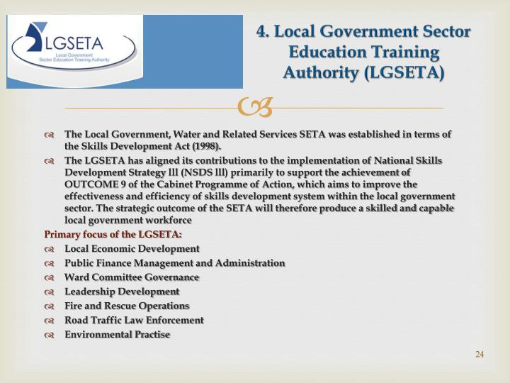 4. Local Government Sector Education Training Authority (LGSETA)
