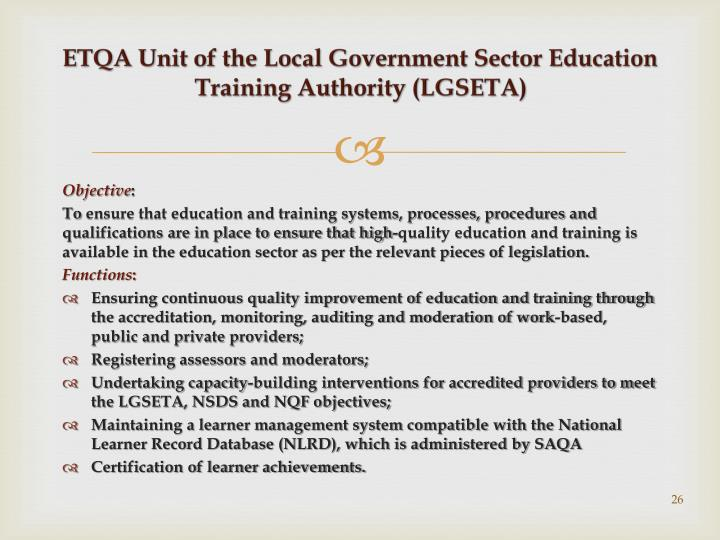 ETQA Unit of the Local Government Sector Education Training Authority (LGSETA)