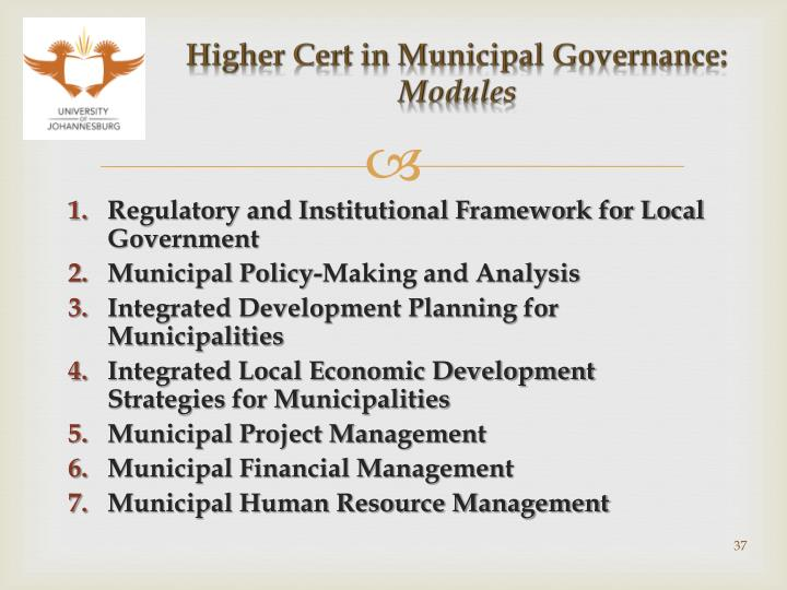 Higher Cert in Municipal Governance: