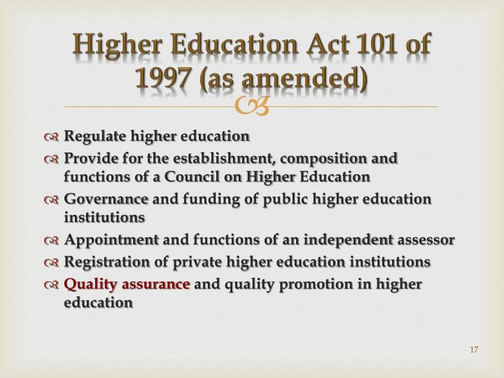 Higher Education Act 101 of 1997 (as amended)
