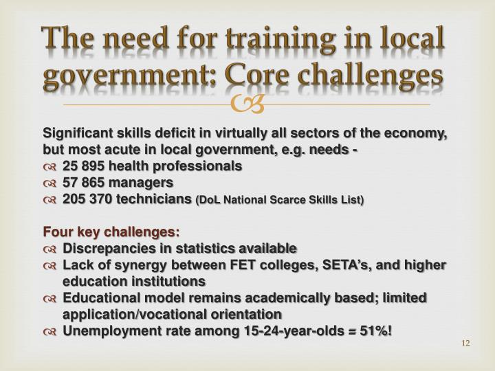 The need for training in local government: Core challenges