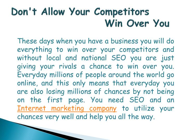 Don't Allow Your Competitors