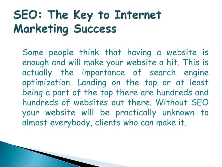 Seo the key to internet marketing success