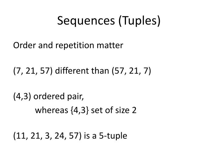 Sequences (Tuples)