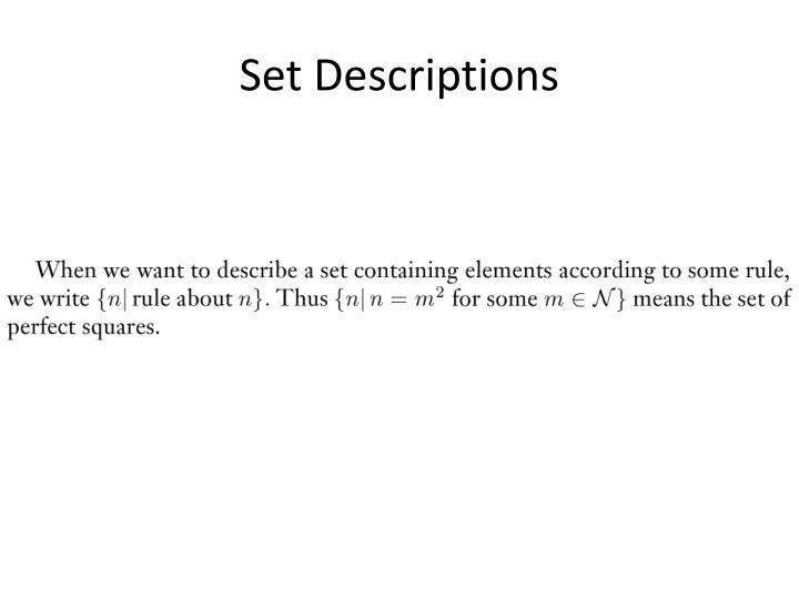 Set Descriptions