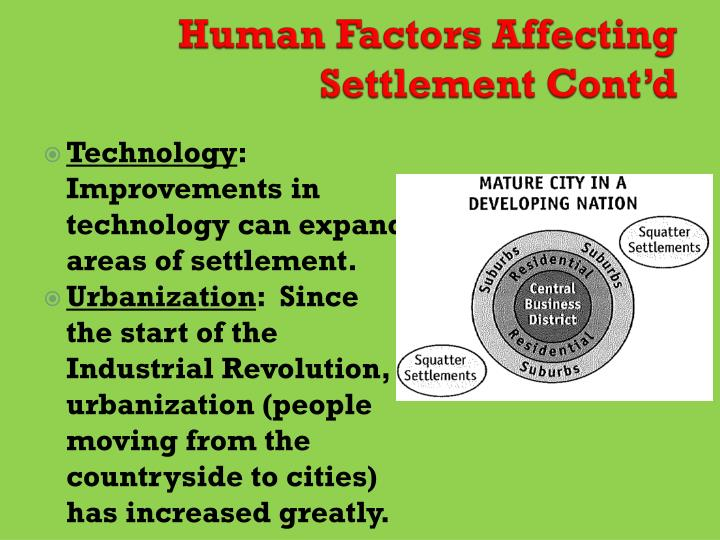 Human Factors Affecting Settlement Cont'd