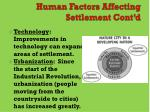 human factors affecting settlement cont d