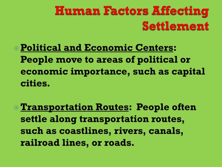 Human Factors Affecting Settlement