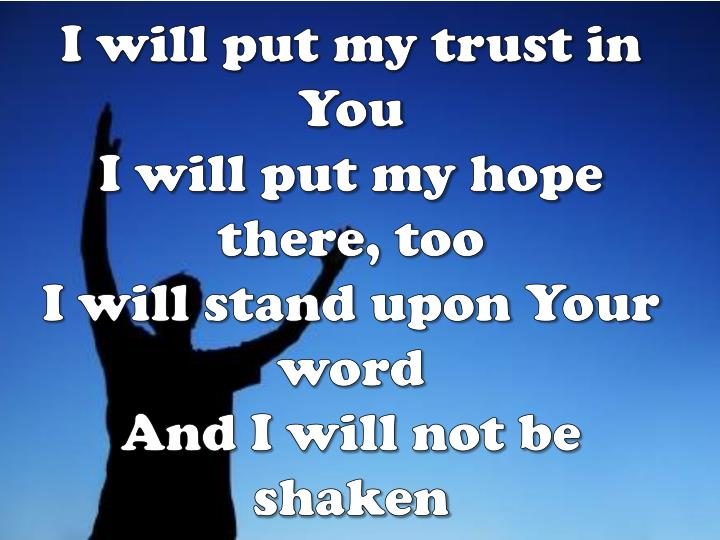 I will put my trust in You