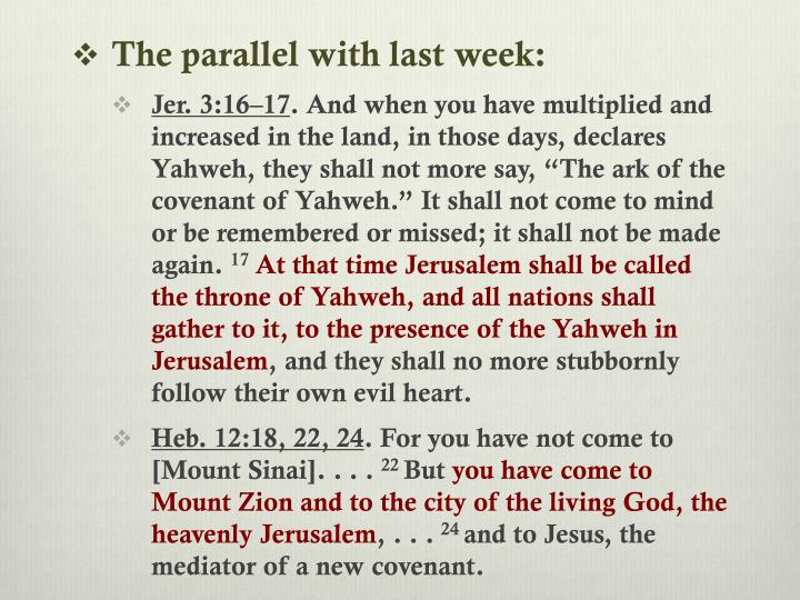 The parallel with last week: