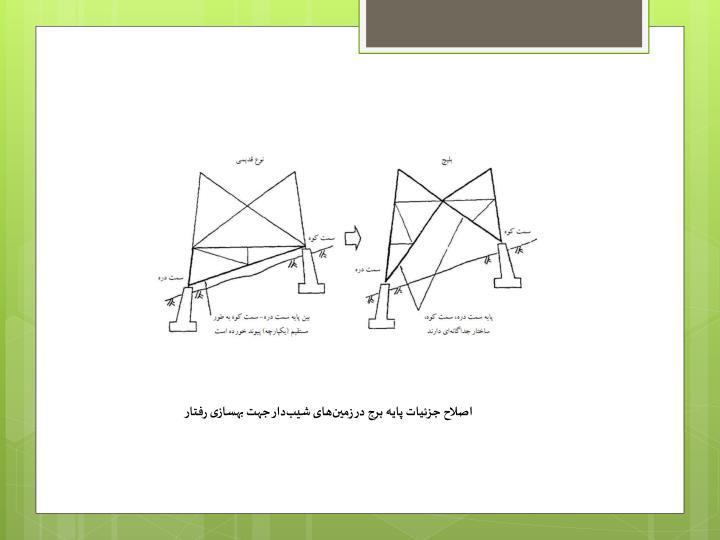 اصلاح جزئیات پایه برج در زمینهای شیبدار جهت بهسازی رفتار