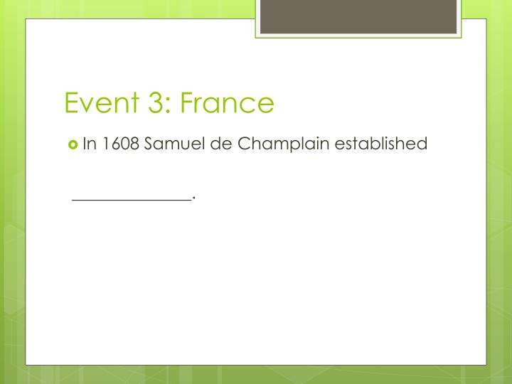 Event 3: France