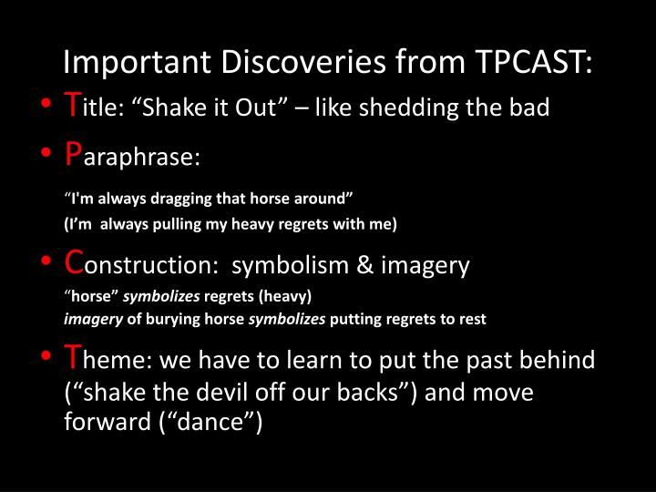 Important Discoveries from TPCAST:
