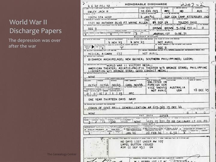 World War II Discharge Papers
