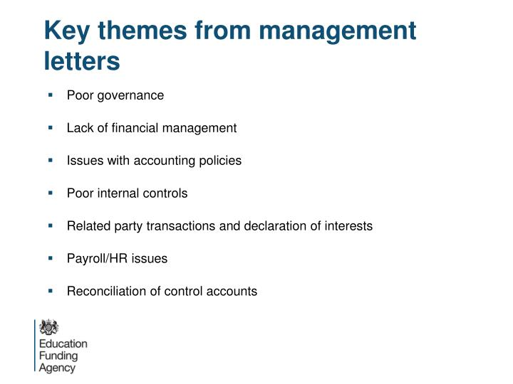 Key themes from management letters
