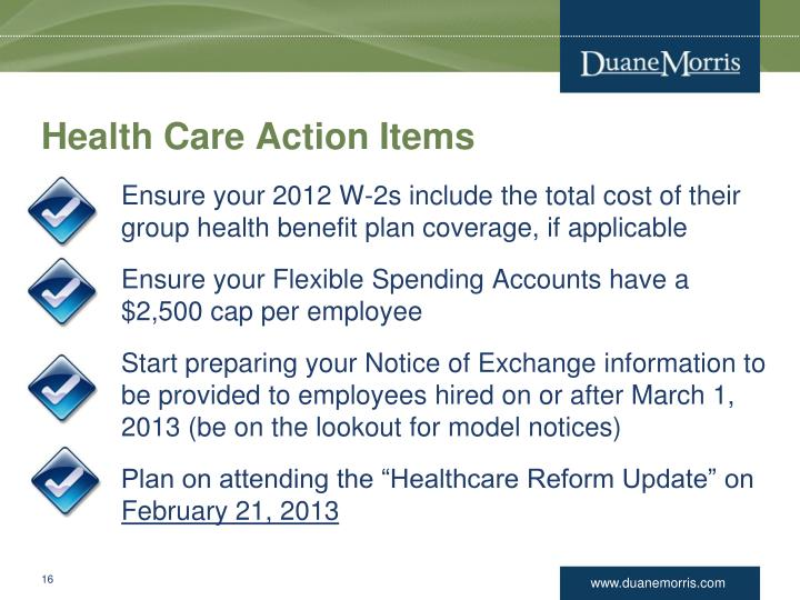 Health Care Action Items