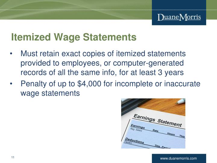 Itemized Wage Statements