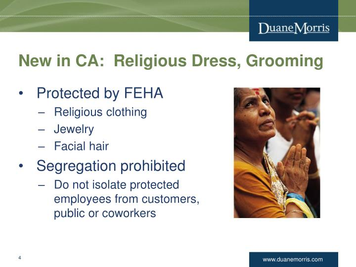 New in CA:  Religious Dress, Grooming