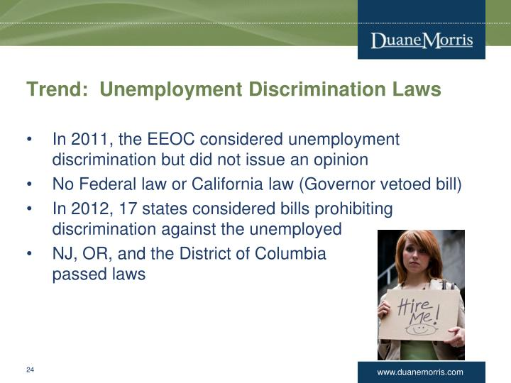 Trend:  Unemployment Discrimination Laws