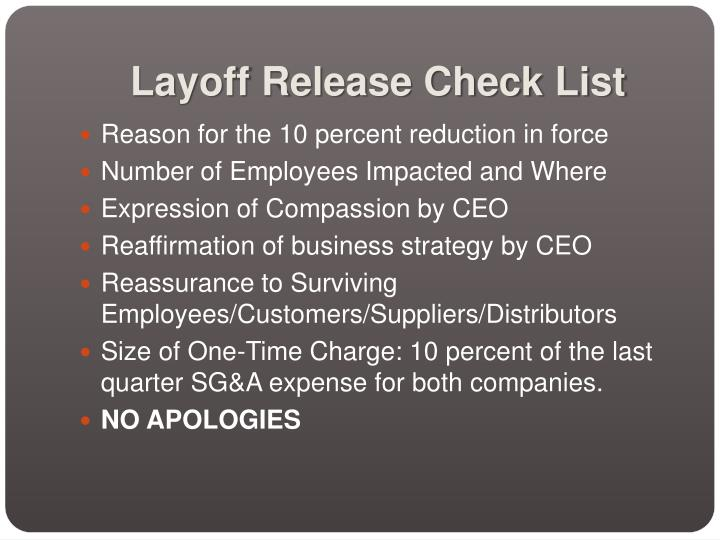 Layoff Release Check List