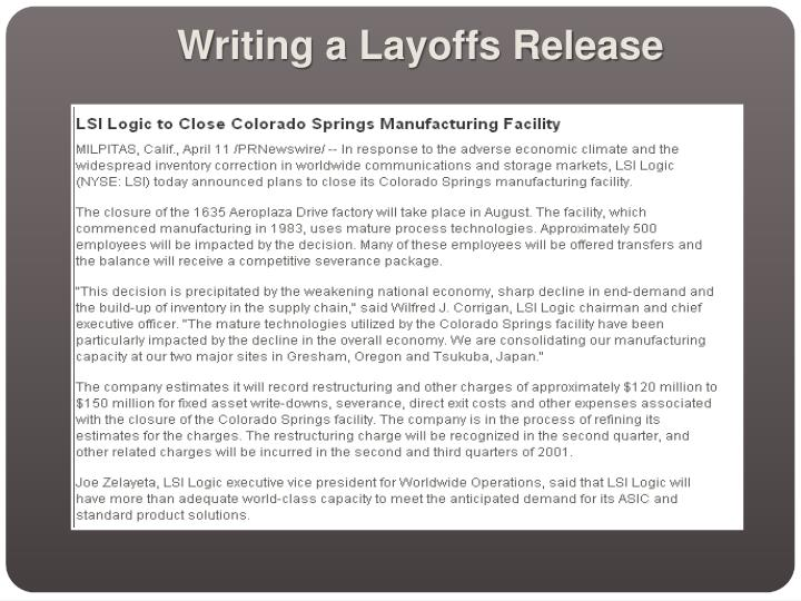 Writing a Layoffs Release