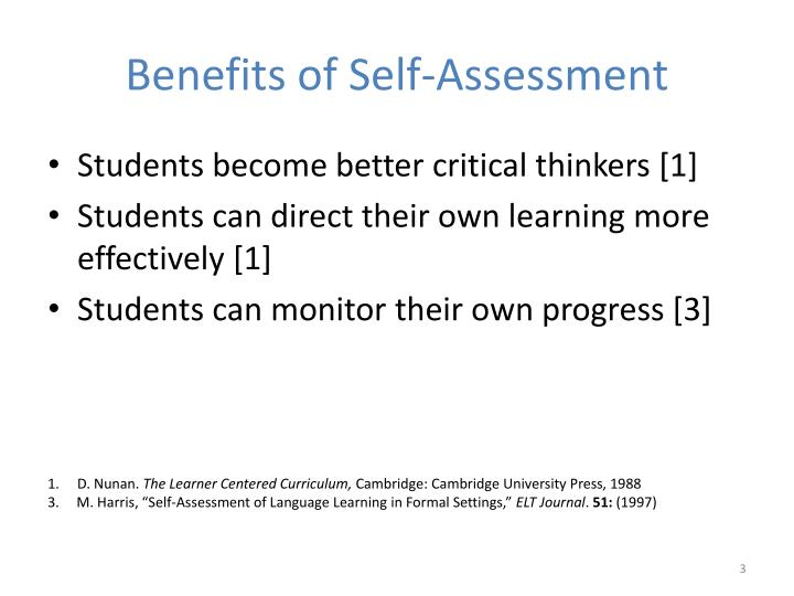 Benefits of self assessment