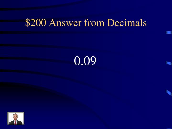 $200 Answer from Decimals