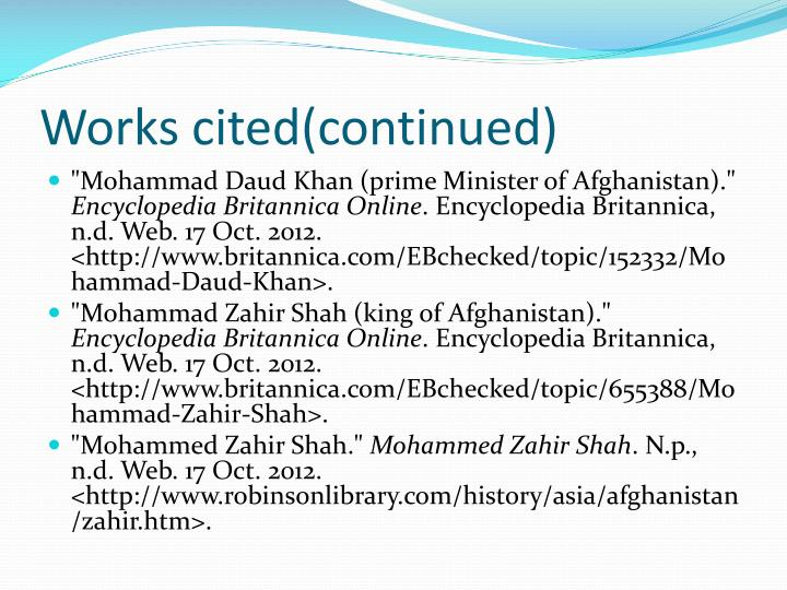 Works cited(continued)