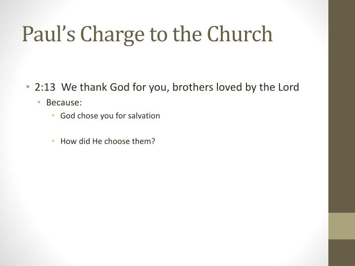 Paul's Charge to the Church