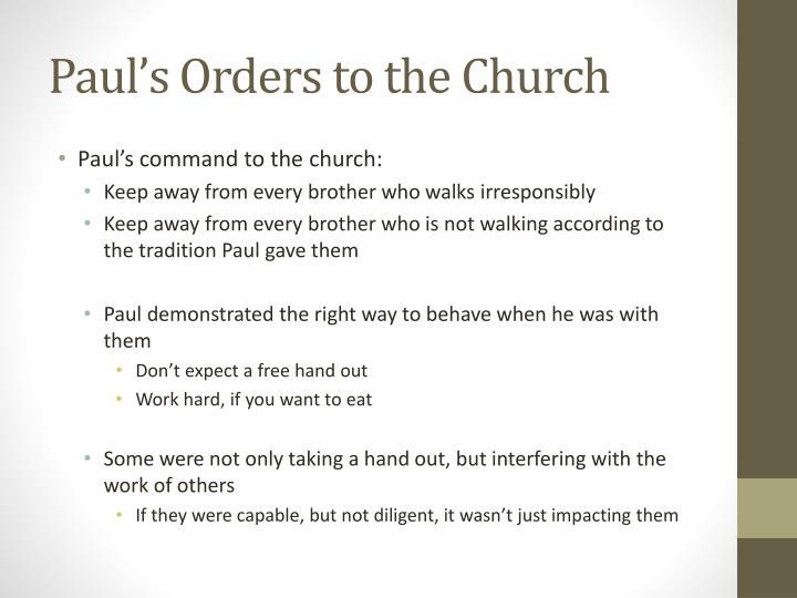 Paul's Orders to