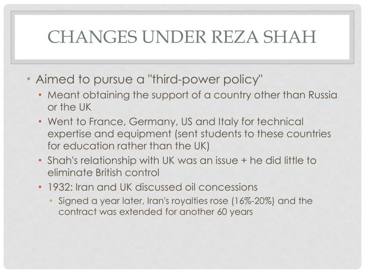 Changes under Reza Shah